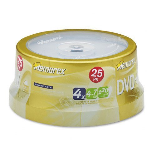 Memorex : Disc DVD+RW 4.7GB 4X 25/spindle -:- Sold as 2 Packs of - 25 - / - Total of 50 Each