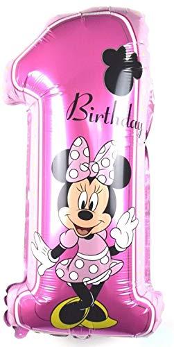 SauParty XL Ratón Minnie Helio Globo de Plástico Número 1 Cumpleaños Disney Mickey Balloon