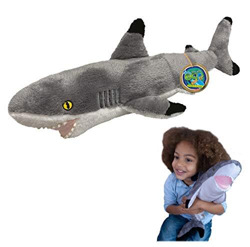 EcoBuddiez - Tiburón Punta Negra de Deluxebase. Peluche Grande de 60 cm elaborado con Botellas de plástico recicladas. Lindo Peluche ecológico con Forma de animalito para niños pequeños.