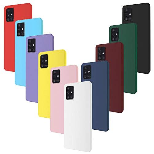 Ptny 10x Cover per Samsung Galaxy A71, Cover Posteriore con Protezione Fotocamera, Morbido TPU Silicone Tinta Case Unita Protettiva Skin Caso …