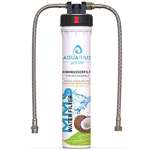 AQUARIUS pro life ® - Trinkwasserfilter - 0,1 Mikron Porengröße - Micro-Membran-System - bis zu 11.200 Liter/Jahr - Aktivkohlefilter + Keimsperre + Anti-Keim-Aktivator - Einbaufilter - Wasserfilter