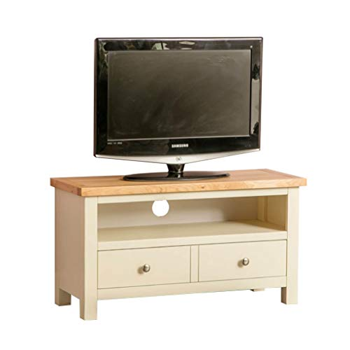 Farrow Cream Small TV Unit | 90 cm Country Farmhouse Painted Solid Wood with Oak Top Television Cabinet Stand Suitable for TVs up to 40 inches for Living Room or Bedroom, Fully Assembled