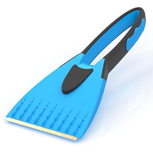 AUPROTEC Eiskratzer mit Messingklinge - 2K Eisschaber mit integriertem rutschfestem Softgriff - blau