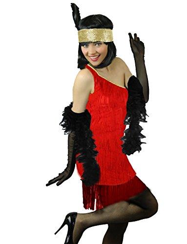 Yummy Bee Charleston Ans 20 Lujo Seductor Fiestas de Disfracess Mujer + Boa de Plumas Rojo Talla 34 36