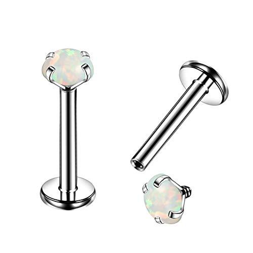 OUFER One Piece G23 Solid Titanium Labret Piercing 16G Internally Thread Lip Ring Cartilage Earrings Tragus Helix Piercing Opal