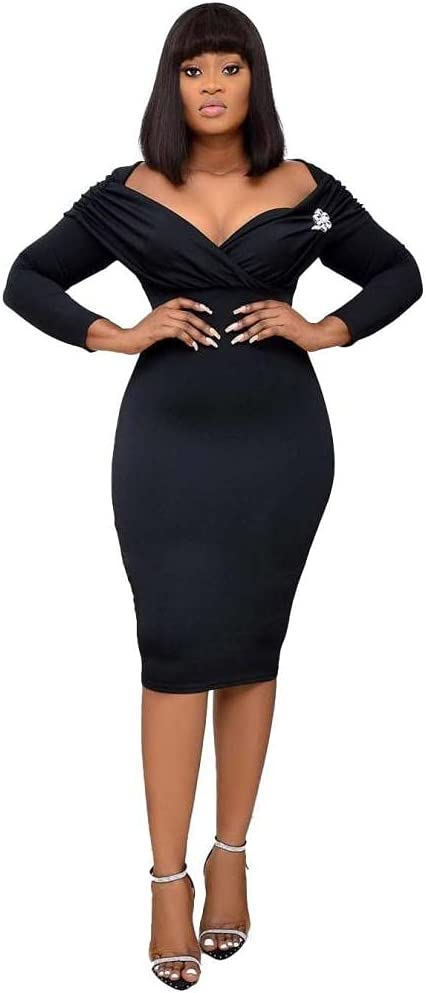 Women's V Neck Bodycon Pencil Dress Long Sleeve Office Wear to Work Retro Pleated Dresses-Black_XXL