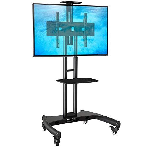 Ergosolid Supporto TV da Pavimento con Ruote Carrello Staffa Porta Mobile Stand Orientabile per Schermi 32' a 65', fino a 45,5 kg