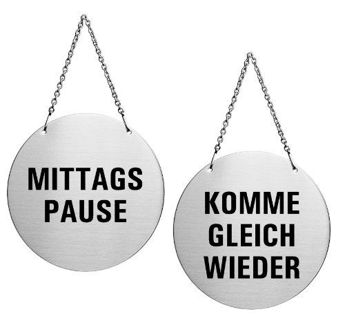 Ofform - Wendeschild Türhänger aus Edelstahl Mittagspause/Komme gleich Wieder Ø 130 mm Nr.6912