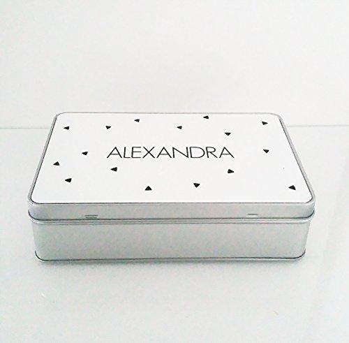 Personalisierte Metalldose als Behältnis wunderbar geeignet für kleine Geschenke, Kekse, Tee, Kaffee, Beautymasken. Zeitlos, schlicht, elegant und edel.