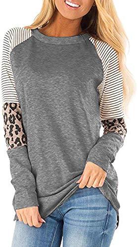 Mujer Casual Suelto Jersey Suéter Pullover Camiseta a Rayas Sudadera con Manga Larga Jerséis T-Shirt tee Túnica Tops Gris M