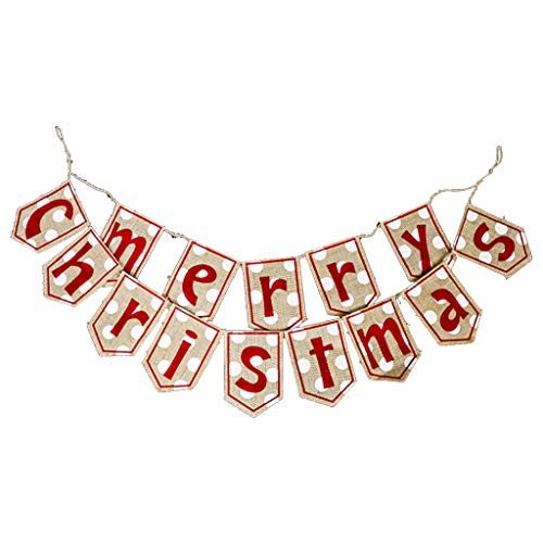 N|A Yuanshenortey Hanging Decorations - Merry Christmas Banner Fireplace Door Festival Decorative Accessories