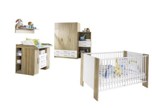 Rauch AJ629.0A1A.70 Babyzimmer Samira6-teilig, 374 x 197 x 145 cm Dekor-Druck Eiche Sonoma, Absetzungen alpinweiß