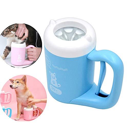 YINGZU Silicone Coppa Portatile Bagno Pet Paw Cleaner Rondella Cup con Lavaggio Delicato Spazzola governare per la Pulizia Pet,Blu,M