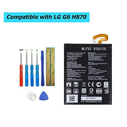 Upplus BL-T32 - Batería de Repuesto para LG G6 H870 H871 H872 LS993 VS998 (Ion de Litio, con Kit de Herramientas)