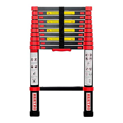 BEETRO 105 ft Aluminum Telescoping Ladder Extension Folding Ladder Multipurpose Ladder for Roofing Business Outdoor Working Household Use and More 330lb Capacity Red