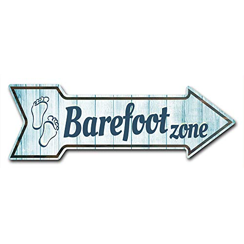 """SignMission Decal Art Barefoot Zone Decal Indoor/Outdoor Decor 24"""" Directional Sticker Vinyl Wall Decals"""