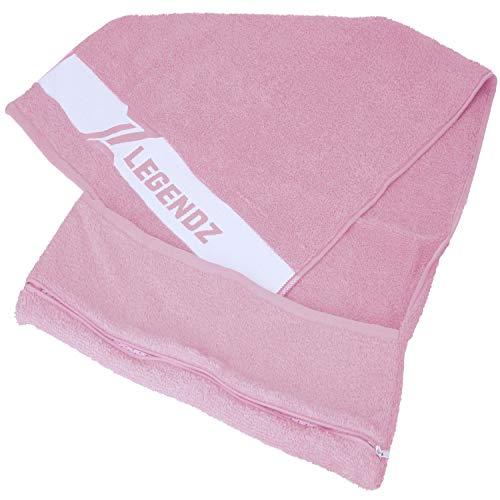 LegendZ Fitness Handtuch – Sporthandtuch Set mit Reißverschluss Tasche |130x50cm | antibakteriell |Fitnessstudio Gym Training Schwimmen Yoga Badetuch | edle Baumwolle und schickes rosa