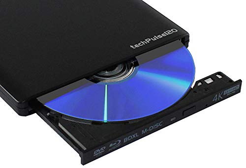 techPulse120 portables USB 3.0 4K UHD 3D M-Disc BDXL HDR10 Laufwerk Blu-ray Brenner Burner Superdrive Ultra-Slim BD DVD CD für Netbook Notebook Ultrabook Windows Mac OS Apple iMAC MacBook Alu Schwarz