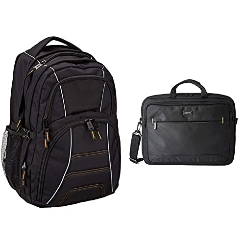 Amazon Basics - Mochila para ordenador portátil de hasta 17pulgadas (43cm), Negro + Funda para ordenador portátil de 17,3 pulgadas, negro, 1 unidad