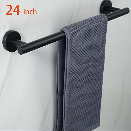 NearMoon Bathroom Towel Bar, Bath Accessories Thicken Stainless Steel Shower Towel Rack for Bathroom, Towel Holder Wall Mounted (Matte Black, 24 Inch)
