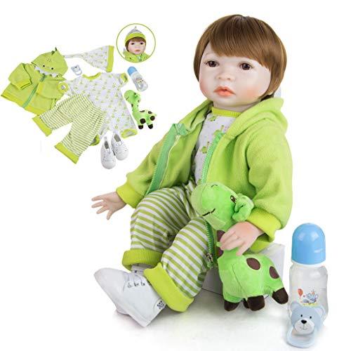 TINGSHOP 22 Zoll 55Cm Reborn Babypuppen Weiches Silikon Vinyl Echt Aussehende Lebensechte Puppen Handgemachte Spielzeuge Magnet Schnuller Reborn Babys Geburtstagsgeschenke Für Kinder, Grün