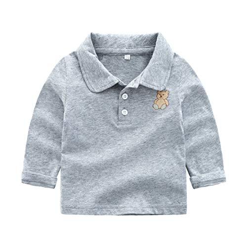happy event_baby Happy Event Kleinkind Kind Baby Boy Kleidung Langarm Cartoon Bär Pullover T-Shirt (Grau, 3-6 Months-70)