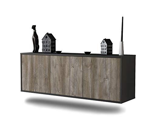 Dekati Lowboard Seattle hängend (136x47x35cm) Korpus anthrazit matt | Front Holz-Design Treibholz | Push-to-Open