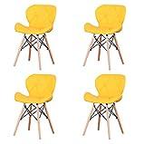 Nordic Classic - Silla de comedor de terciopelo y lino, 4 unidades, color amarillo