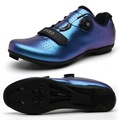 JIASUQI Mens Women Road Cycling Shoes Compatible Mountain Bike with SPD/SPD-SL & Lock Cleats & Fast Rotating Buckle Blue, 7 UK