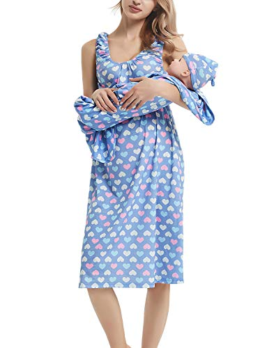 GINKANA Maternity/Nursing Delivery Nightgown with Matching Baby Swaddle Blankets and Hat Set - Hospital Bag Must Have