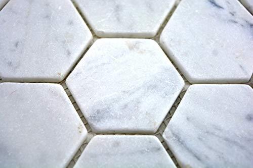 Mozaïek tegel marmer natuursteen hexagon marmer wit Carrara MOS44-0103_m