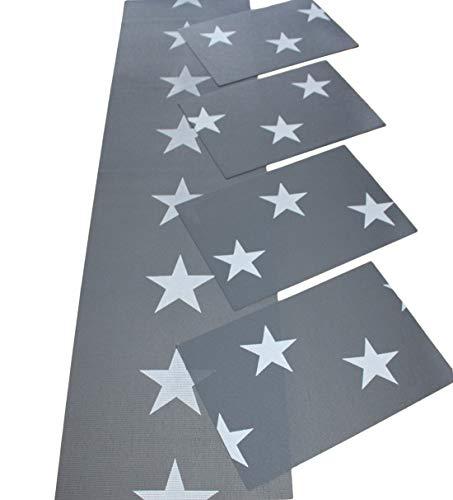 Friedola Tischläufer und Platz Set, Sterne anthrazit/weiß, Öko Tex Standard (Läufer + Platz-Set)