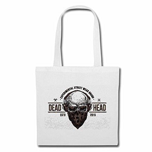 Tasche Umhängetasche Deadhead Biker Skull MIT KOPFHÖRER UND Tuch VORM Gesicht Gothic Motorradfahrer Motorradclub MC Rocker Einkaufstasche Schulbeutel Turnbeutel in Weiß