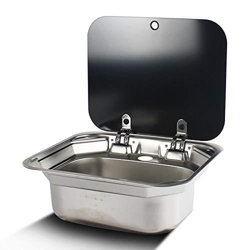 W.Z.H.H.H Fregadero de Lavabo de Mano de Acero Inoxidable de Acero Inoxidable de la Caravana con Tapa de Vidrio Templado (Color : Sink with Faucet, Size : Gratis)