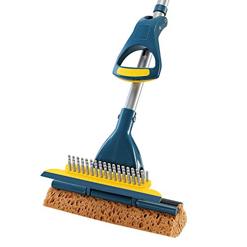 Yocada Sponge Mop Home Commercial Use Tile Floor Bathroom Garage Cleaning with Squeegee and Extendable Telescopic Long Handle 42.5-52 Inches Easily Dry Wringing Green