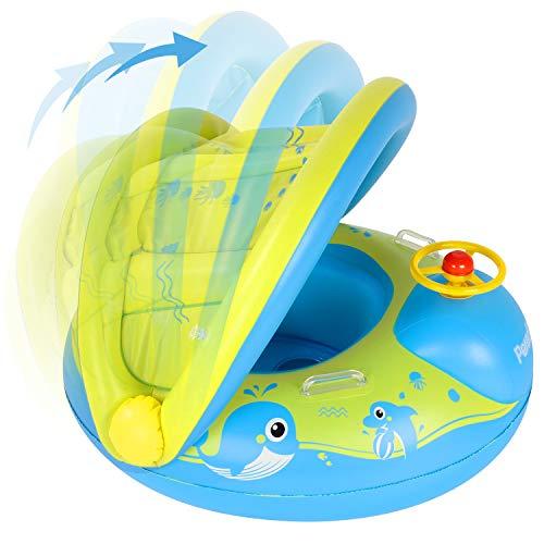 Peradix Baby Schwimmring, Baby Schwimmen Schwimmtrainer mit abnehmbarem Sonnendach, Kinderboot Schwimmer Schwimmreifen mit Sonnenschutz für Kinder ab 12 Monaten