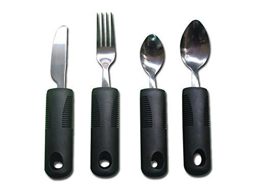 Gima - 4-teiliges Besteckset mit Greifhilfe, formbar, ideal für Senioren oder Behinderte; Gabel, Messer, Löffel und Teelöffel; breiter, rutschfester gummigriff
