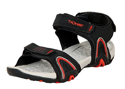 Tomcat Mens & Boys Faux Leather Black and Red Sandals,Casual Sandals,Sport Sandals,Walking Sandals,Cricket Sandals,Floatters,Football Sandals and Lightweight Sandals Floatters