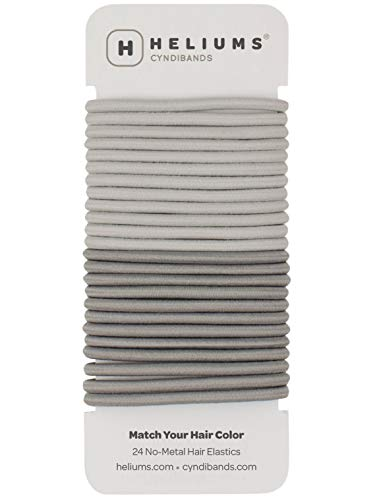 Cyndibands Hair Ties for Gray Hair Color Match No-Metal 4mm Elastic Hair Ties - 24 Count (Light Silver/Gray)