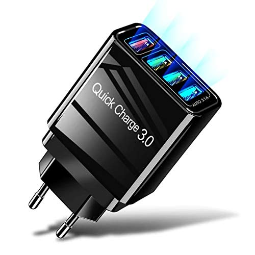 EHANDLER USB Ladegerät, 30W Quick Charge 3.0 USB Ladeadapter 4 Ports USB Netzteil mit Intelligent Laden für iPhone XR/XS/X/8Plus/8/7,iPad Air,Samsung Galaxy S9+/S8/S7, Nexus, HTC,LG,Huawei/Schwarz