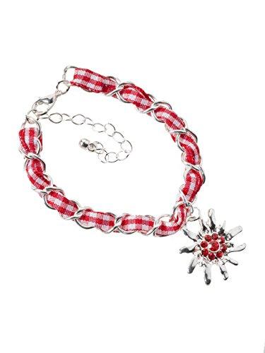 Schöneberger Trachten Couture Trachtenarmband Edelweiss Gliederkette Klassik - elegante und traditionelle Gliederkette/Armband für Dirndl und Lederhose (rot/weiss)