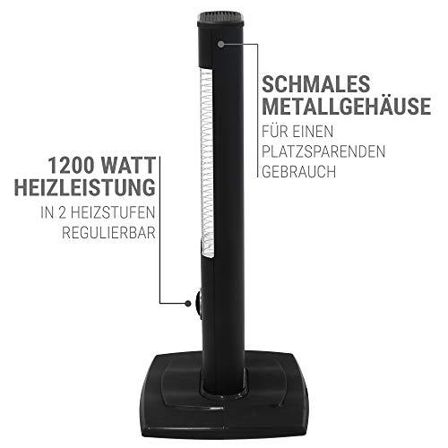 VASNER StandLine Mini 12 Infrarot Stand-Heizstrahler – schwarz – 1200 Watt mit Thermostat, Infrarotstrahler für überdachte Terrasse Außenbereich - 6