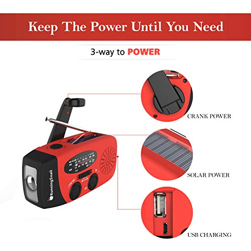 Product Image 2: [Upgraded Version] RunningSnail Emergency Hand Crank Self Powered AM/FM NOAA Solar Weather Radio with LED Flashlight, 1000mAh Power Bank for iPhone/Smart Phone