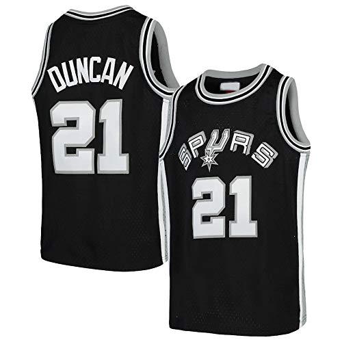 WSWZ Basketball Herren NBA Trikot Tim Duncan 21# San Antonio Spurs NBA Sportbekleidung Unisex T-Shirt Besticktes Basketball Swingman Trikot,L