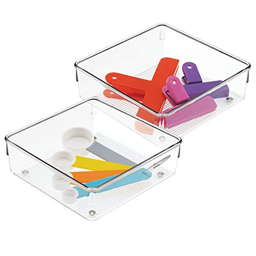 iDesign Linus Schubladenorganizer, mittelgroßer Schubladeneinsatz aus Kunststoff für Utensilien, 2er-Set Aufbewahrungsboxen, durchsichtig