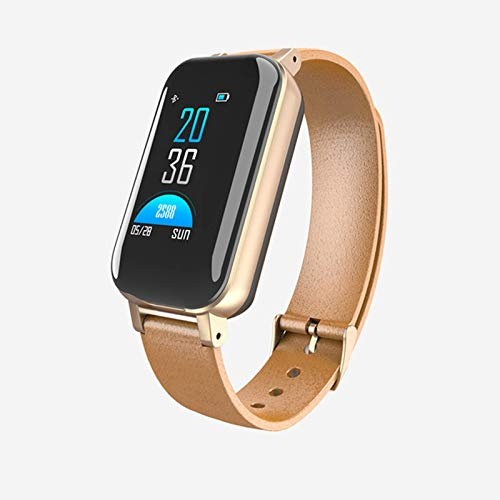 QIXIAOCYB T89 reloj inteligente hombres y mujeres con auricular Bluetooth IP67 impermeable soporte Siri BT llamada salud Monitoreo fitness pulsera inteligente, A,