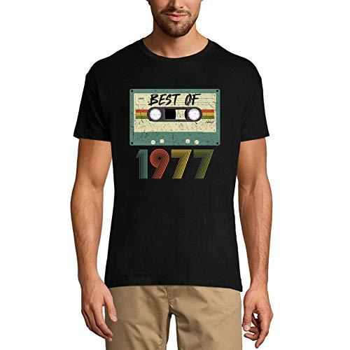 Ultrabasic Camiseta para hombre vintage Best of 1977 – Retro Cassette 44 cumpleaños regalo camiseta - negro - Small