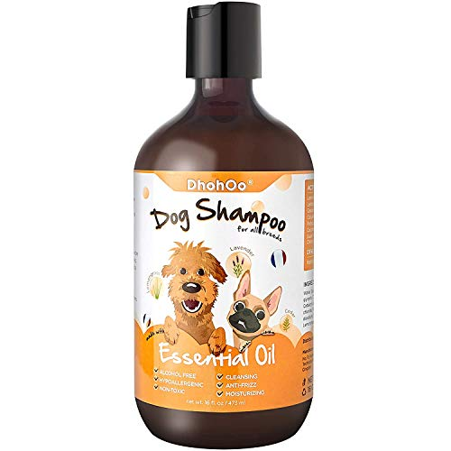 Dhohoo Dog Shampoo Conditioner for Allergies and Itching with Essential Oil, Natural Ingredients Dog Puppy Shampoo for Smelly Dog,Relief Skin Dry Itchy, Healthy Hair Growth -16 oz