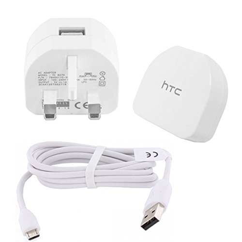Genuine White HTC TC-B270 Mains Wall Plug and DC-M410 Micro Data Cable For Desire M9 M8 M7 610 310 (Non Retail Packaging)