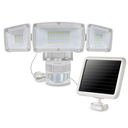 Solar Motion Sensor Security Light, Outdoor Flood Light, 1500LM 5000K, IP65 Waterproof, 3 Adjustable Heads Light with 2 Modes Automatic and Permanent on, for Backyards, Patios, Garages, Entryways